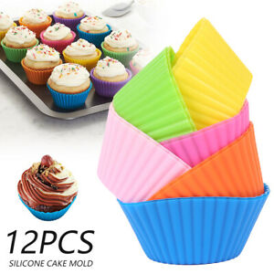 12Pcs 7cm Silicone Muffin Cases Cupcake Cup Mold Baking Reusable Cake Mould Tray
