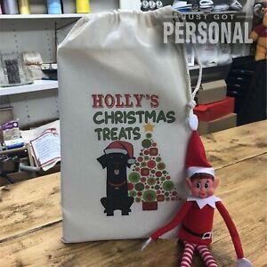 Personalised Dog Santa Sack - Black Labrador - Holly Design - Christmas Gift