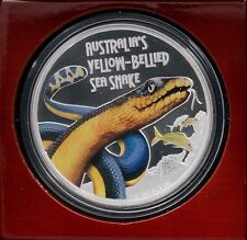 2013 Tuvalu 1 oz .999 Silver Yellow-Bellied Sea Snake Coin Perth 5000 Mintage