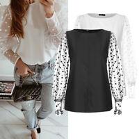 Summer Women Mesh Sheer Polka Dot Top Club Party Casual T Shirt Blouse Plus Size