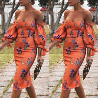 Women Floral Off Shoulder Lace Up Bodycon Cocktail Party Prom Evening Midi Dress