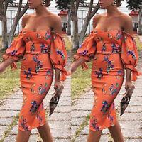 Women Floral Off Shoulder Bodycon Pencil Dress Ladies Party Strapless Midi Dress