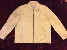 "WILSON M.JULIAN LEATHER JACKET MEN'S SOLID ""OFF WHITE COLOR"" US, LARGE SIZE"