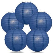 "(5-PACK) 10"" Navy Blue Round Paper Lantern, Even Ribbing, Hanging Decoration"
