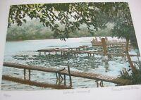 Frances St Clair Miller Lake at Carcaron II Aquatint Painting Fishing Art Signed