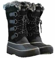 Khombu Women's Black North Star Leather Upper Snow Boots Size 8