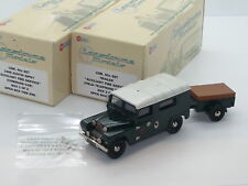 2x New 1:43 Lansdowne Models LDM40x Austin Gipsy Fire & Trailer LWB Land Rover