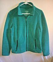 Women's L.L. Bean Teal Green Fleece Jacket Size Medium Reg Full Zip Mock Neck