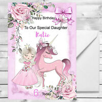 Personalised Girls Princess Unicorn Birthday Card 1st 2nd 3rd 4th Granddaughter