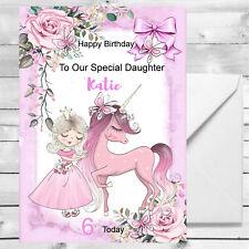 Personalised Girls Princess Unicorn Birthday Card 1st 2nd 3rd 4th Granddaughter