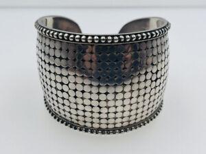 John Hardy Vintage Authentic Sterling Silver Dot Pattern Wide Cuff Bracelet