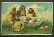 Chicks Colored Eggs SQUEEZE SQUEAK NOISE Mechanical Vintage EASTER Postcard