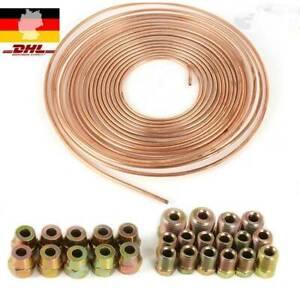 7.6m Bremsleitung Bremsrohr  Kupfer 4,75 mm + 10 Verschraubungen + 10 Verbinder
