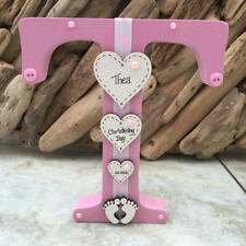 Freestanding Personalised Wooden Letter for Christening New Baby Newborn
