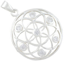 Mandal Blume des Lebens Silber Anhänger Yoga Mantra Meditation Lebensblume b488