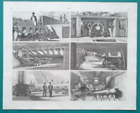GUNSHIPS Life Sailor at Wheel Watch Cabin Cannon Battery - 1844 Superb Print