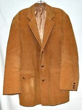 Vintage 80s Pioneer Wear Golden Brown Corduroy Distressed Mens Sport Coat Sz 44R