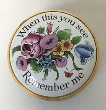 Halcyon Days Enamel Miniature Trinket Pill Box When This You See Remember Me