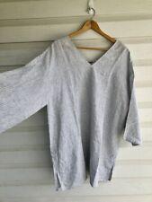 Eileen Fisher Striped Linen Short Sleeve Top Blouse Shirt Medium Oversized