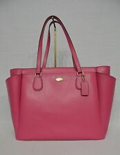 NWT! Coach F35702 Crossgrain Leather Baby Bag / Diaper Bag in Dahlia Pink
