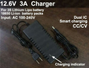 12.6V 3A Intelligent Smart Charger for 11.1V Li-ion Li-Po Lithium Batterie Pack
