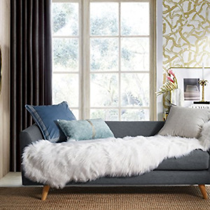 Ashler Soft Faux Sheepskin Fur Chair Couch Cover White Area Rug for Bedroom Sofa