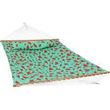 Sunnydaze 2-Person Fabric Spreader Bar Hammock - Watermelon and Chevron