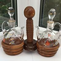 Vintage Cruet Set Oil & Vinegar Glass Floral Decanters On Wooden Stand. Retro