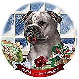 Staffordshire Bull Terrier Blue/White Porcelain Ornament 'Santa. I Can Explain!'