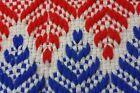 Handmade Red White Blue Knit Woven Rug Fringe 45.5 x 64 Blanket