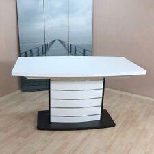 Säulentisch Ausziehbar Esstisch Esszimmertisch Tisch Farbe: Weiß/Schwarz