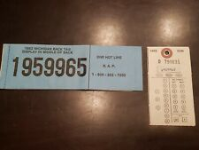 Michigan Resident Deer License, back tag and kill tag 1982 includes stickers