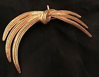 Vtg Monet Abstract MOD Gold GT Braided Rope Brutalist Brooch Pin Modern Art 80's