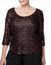 Alex Evening Plus 1X Size Sequin Blouse Red & Black  $139