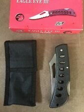 Vintage Eagle Eye Iii Folding Knife Stainless Steel Blade Carry Case New