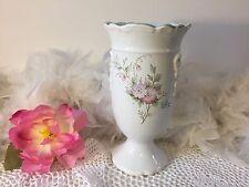 Vtg English vase, white floral ceramic vase with pink flowers, Ceramadad vase