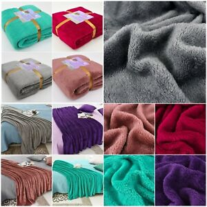 Soft Cosy Large Faux Fur Fleece Blanket Bed Sofa Throw Double & King Size