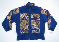 Vintage 80s 90s Blue Gold Royalty Baroque Lion Silk Full Zip Bomber Jacket NWT