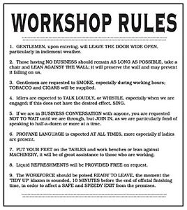 Workshop Rules enamelled steel wall sign 180mm x 160mm (dp)