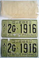 ONE LOT OF TWO 1971'S QUEBEC AUTO PLATES + ORIGINAL PAPER BAG *** PLAQUES D'AUTO