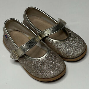 Gold Glitter Mary Jane Flat Dress Shoes Easter Toddler Size 7 Hook & Loop Strap