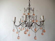 ~c 1920 French Pink Murano Balls Crystal Swags Chandelier RARE Gorgeous!!!~