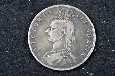 1889 - VICTORIA DEI GRATIA ONE SILVER CROWN!!  #H17352