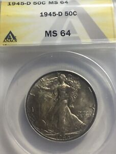 1945-D WALKING LIBERTY 50C ANACS MS64 LOTS OF MINT LUSTER EVEN TWO SIDED TONING