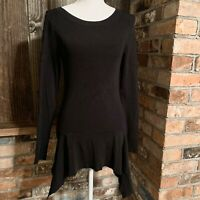 Trouve Women's Long Sleeve Top Black Blouse Tunic Boat Neck Size Medium