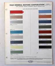 1960  GM DUPONT COLOR PAINT CHIP CHART CHEVY BUICK OLDSMOBILE PONTIAC ALL MODELS