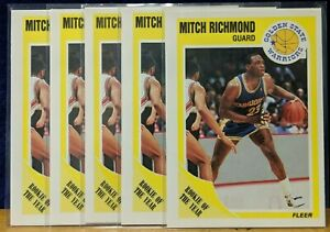 Vintage Lot of 5X 1989-90 Fleer #56 Mitch Richmond HOF 1980s ROY Warriors Hot