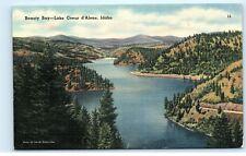 *Beauty Bay Lake Coeur d'Alene Idaho Mountains Vintage Linen Postcard A18