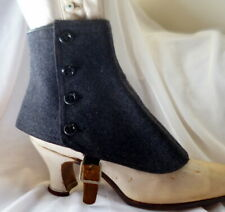 Antique 1880-1900s Shoe Spats Grey Wool Edwardian Victorian