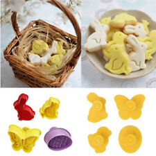 4Pcs 3D Easter Plastic Cookie Cutter Plunger Biscuit Pastry Fondant Baking Mold